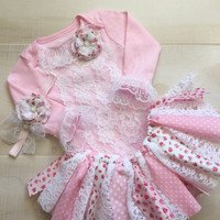 Pink Lace Baby Girl Outfit-Baby Girl Easter Outfit-Floral Tutu Dress-Layette For Baby Girl-Baby Girl Photo Outfit-Easter Baby Gown-Baby Girl