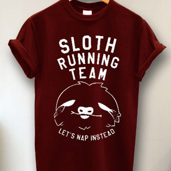 Sloth Running Team Shirts tshirt size s -3xl