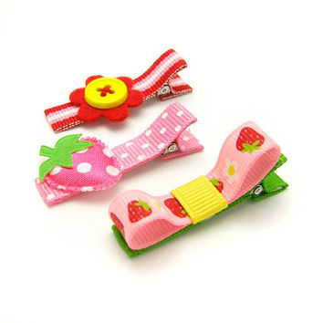 Strawberry Hair Clips Set of 3 Pink Red Yellow by MySweetieBean