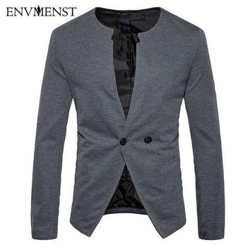 DCCKON3 Envmenst 2018 New Arrival Men's Blazer Suit Jacket Man O-neck Blazer Men Slim Fit Leisure Suits Coats