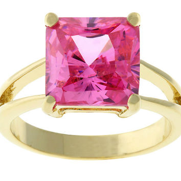 Nadine Pink Princess Cut Cocktail Ring | 5ct | Cubic Zirconia | 18k Gold