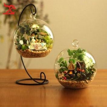 Hanging Clear Glass Ball Air Plant Terrarium With Metal Stand 10cm Globe Rack Holder Round Aquarium Fish  Fish Flower Plant Vase