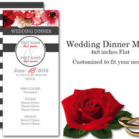 Wedding Dinner Menu 4 X 8 inches Long Customized to fit your needs Front and Back Printing Grey stripes with Pink White and Red Floral print
