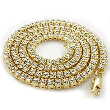 14K Gold Plated Iced Out 1 Row Tennis Necklace