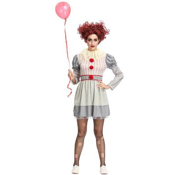 Scary Clown Stephen King's It Cosplay Pennywise Costume Adult Clown Fancy Horror Dress Halloween Costumes For Women Outfit Suit