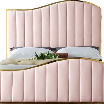 Jolie Pink Velvet King Bed