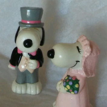Vintage Wedding Cake Toppers Peanuts Snoopy and His Bride 1966