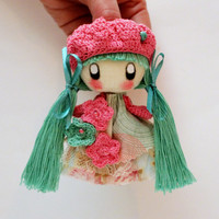 Textile brooch  mint and pink Mimi brooch doll jewerly for kids gift for her