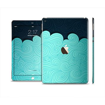 The Tiffany Green Abstract Swirls with Dark Skin Set for the Apple iPad Pro