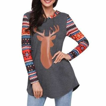 Christmas Deer and Geometric Patterned Tunic Hoodie - Red M