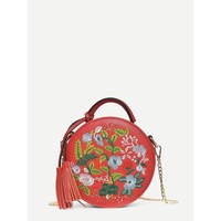 Tassel Decor Floral Embroidered Crossbody Bag