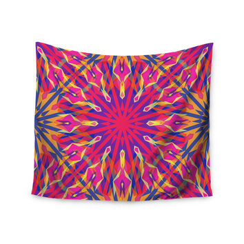 "Miranda Mol ""Whirling"" Orange Indigo Wall Tapestry"