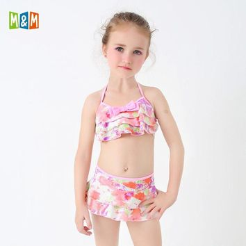 M&M Girls Bikini Set Solid Sling Two Piece Swimsuit Ruffle Print Skirt Swimwear 2018 New Beach Wear Bathing Suit For Lovely Girl