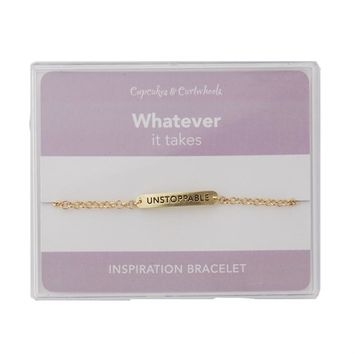 Unstoppable Inspirational Bracelet in Gift Box (Gold or Silver)