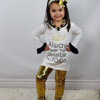 """ALWAYS WEAR YOUR INVISIBLE CROWN"" 2 PIECE SEQUIN SET UPSCALE BOUTIQUE GIRLS CLOTHING (HEADBAND/NECKLACE NOT INCLUDED)"