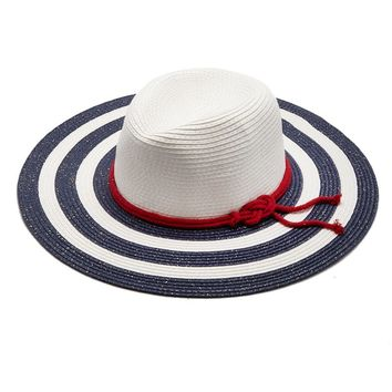 Liberty Nautical Straw Hat with Rope Belt