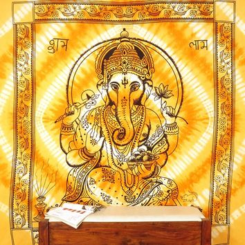 Queen Orange Ganesha Hanging Decorative Tapestry Cotton Coverlet Bedspread