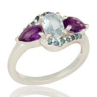 Amethyst and Blue Topaz Solid Sterling Silver Statement Ring Fine Gemstone Ring