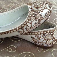 Cherry Blossom Bridal Ballet Flats Wedding Shoes by BeholdenBridal