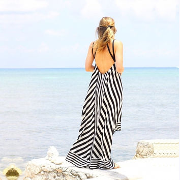 Summer Bohemian Sexy Open Back Black & White Striped Beach Dress