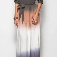All She Wants Olive Ombre Off The Shoulder Maxi Dress