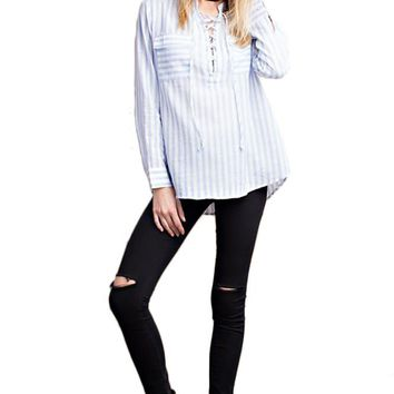 Semi Sheer Stripe Woven Shirt