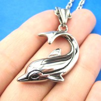 Dolphin Animal Pendant Fish Necklace in Silver | DOTOLY