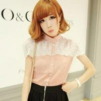 YESSTYLE: Goodies- Lace-Trim Chiffon Blouse (Pink - One Size) - Free International Shipping on orders over $150