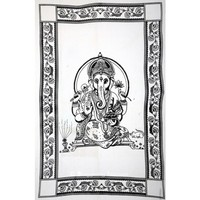 Black and White Hindu Lord Ganesha Cotton Tapestry Wall Hanging
