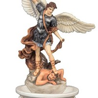 A Veronese St. Michael holy water font, in full hand-painted color, 8inches. Stands or Hangs.
