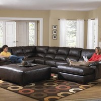 U Shape Sectional Sofa Chaise In Chocolate Bonded Leather (Ottoman Optional)