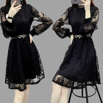 New Women Lace Hollow Out Dress Feminine Embroidery Sexy Preppy Style Plus Size 3XL
