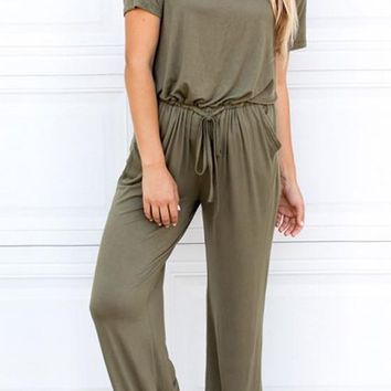 Army Green Patchwork Cut Out Drawstring Draped High Waisted Long Jumpsuit