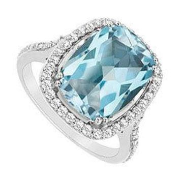 Blue Topaz and Diamond Ring : 14K White Gold - 9.00 CT TGW