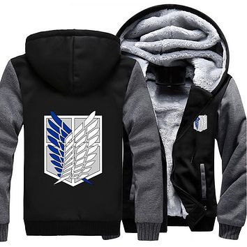Cool Attack on Titan US size  3 Survey Legion Coat Zipper Hoodie Winter Fleece Unisex Levi Ackerman Cosplay Thicken Jacket Clothing AT_90_11