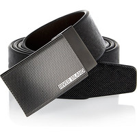 River Island MensBlack etched buckle belt