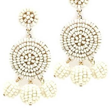 Round Beaded Ivory Earrings