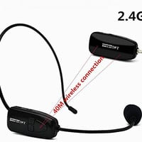 XIAOKOA 2.4G Wireless Microphone, 40m Stable Wireless Transmission, Headset And Handheld 2 In 1, For Voice Amplifier,Speaker, Karaoke, Computer (N-P80)