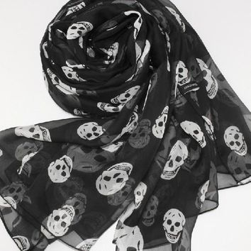 Beady Silk Chiffon Scarf Black with White Skulls