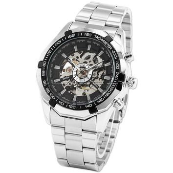Vintage Round Skeleton Dial Stainless Steel Band Men's Automatic Mechanical Wrist Watch