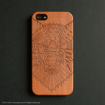 Real wood engraved wolf pattern iPhone case S018