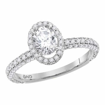 14kt White Gold Womens Oval Diamond Solitaire Bridal Wedding Engagement Ring 1-5-8 Cttw