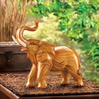 Lucky Elephant Faux Wood Statue