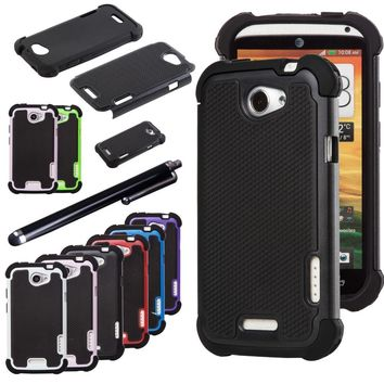 Dual Layer Case Rugged Silicone Hybrid Hard Protect Cover For Case HTC ONE X AT&T Phone Cases w/Stylus Pen