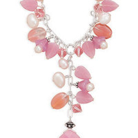 Cultured Pearls, Crystal, Glass and Pink Jade Drop Necklace