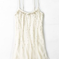 AEO Women's Sequined Chiffon Shift Dress (Cream)