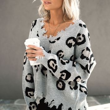 Seeing Spots Grey Leopard Distressed Sweater