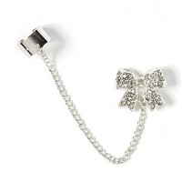 Silver Ear Cuff with Crystal Bow Stud Earring – Claire's