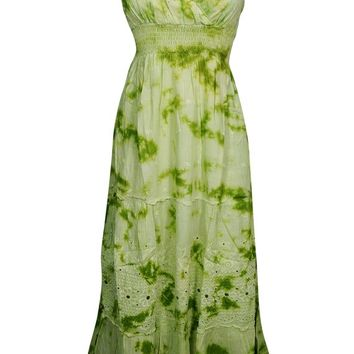 As You Love It Long Tie Dye Dress Green Floral Embroidered Flare Spaghetti Strap Cotton Deep Neck Sexy Summer Dresses S