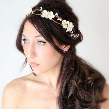 Flower Crown, Ivory Wedding Flower Headband, hair flower, fairy wedding hair, hair accessory, flower girl - ANABELLE - by DeLoop